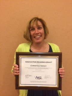 Tina with her AASL Innovative Reading Grant award.