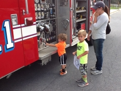 Fire engine side view 2 kids