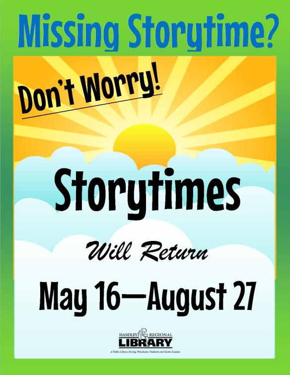 Summer 2016 Storytimes Will Return Poster