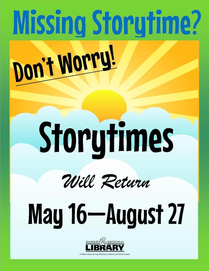 Summer 2016 Storytimes Will Return Poster
